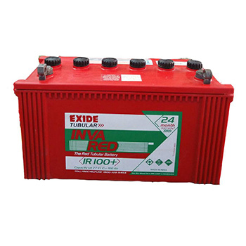 Exide Inva Red Ir100 100ah Tubular Battery Exide Battery