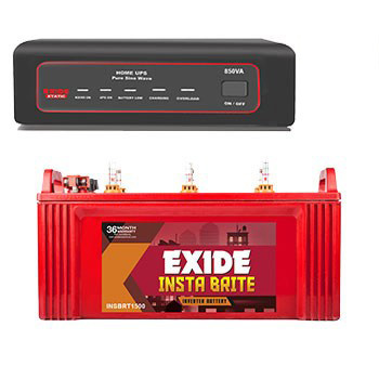 Exide 850VA Sinewave Home UPS and Insta Brite 150AH Inverter Battery Combo