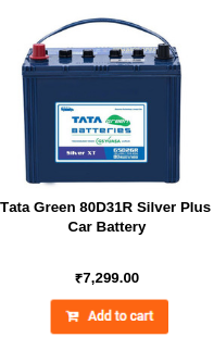Tata Green 80D31R Silver Plus Car Battery