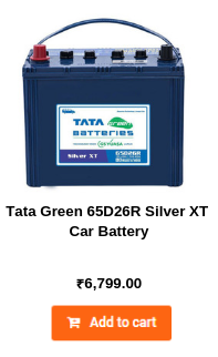 Tata Green 65D26R Silver XT Car Battery